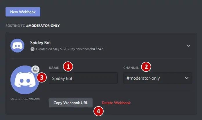 Creating a Discord webhook
