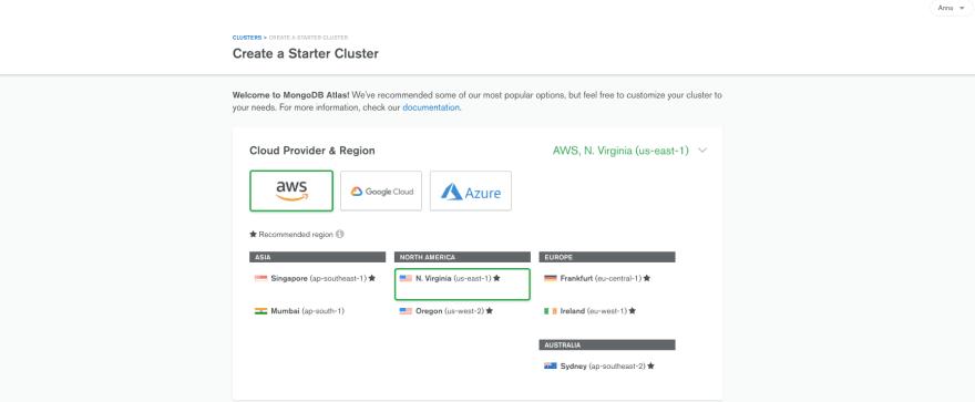 Create Starter Cluster at MongoDB Atlas