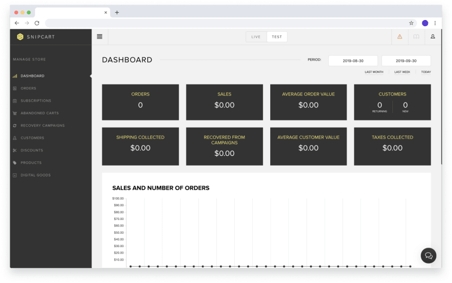 After creating your Snipcart account, you'll be taken to your store's dashboard.