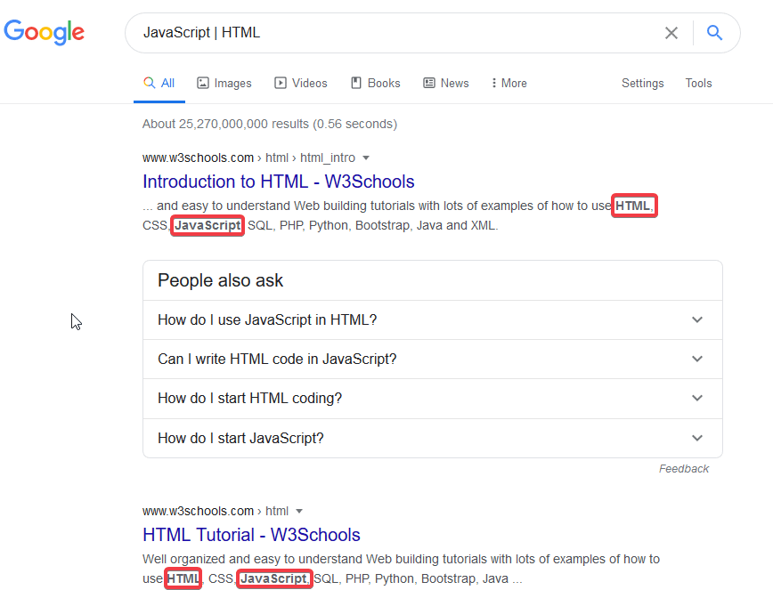 Google search result for JavaScript and HTML