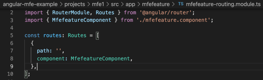 mfefeature component route
