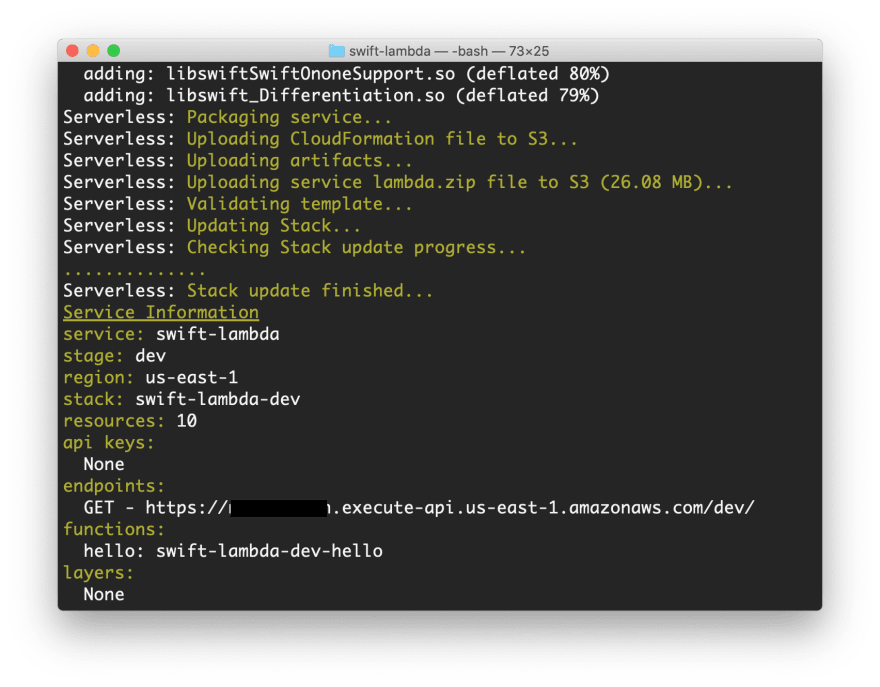 Image shows a terminal window with the deployment process of an AWS Lambda written in Swift finished