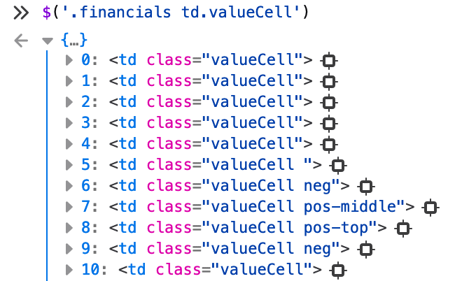 Too many tags with class valueCell are selected