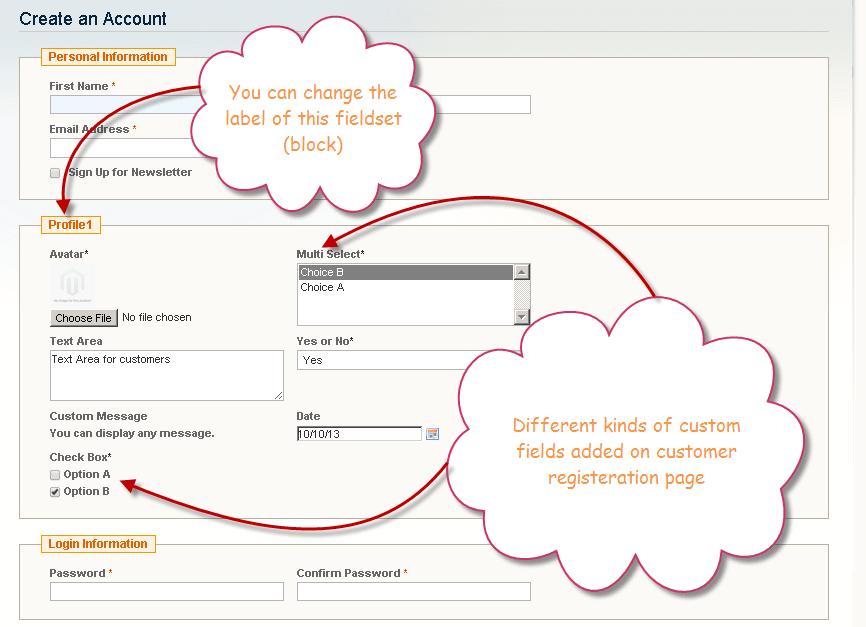 magento registration form attributes