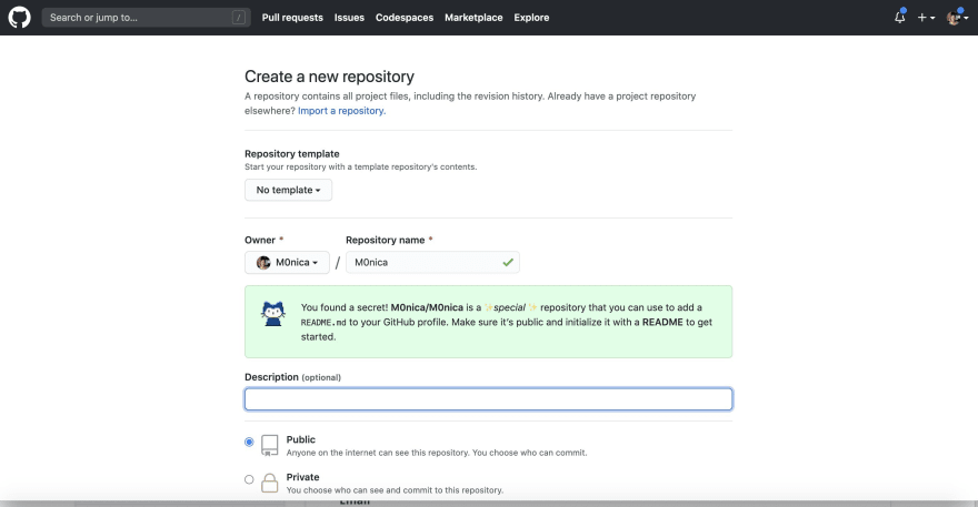 screenshot of the GitHub page for creating new repositories