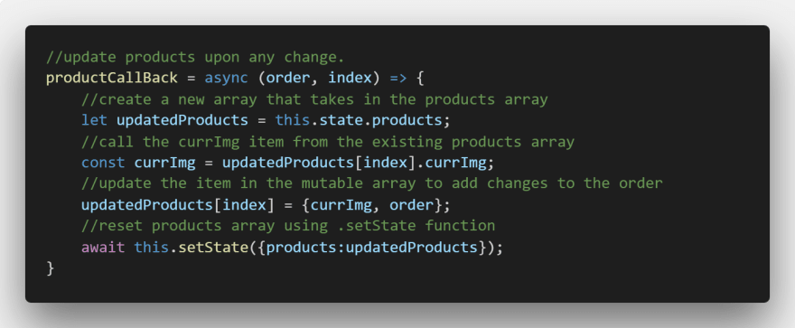 Product display updates the array!