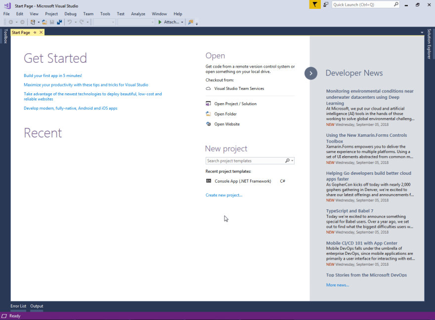 Open Visual Studio 2017 or any other.