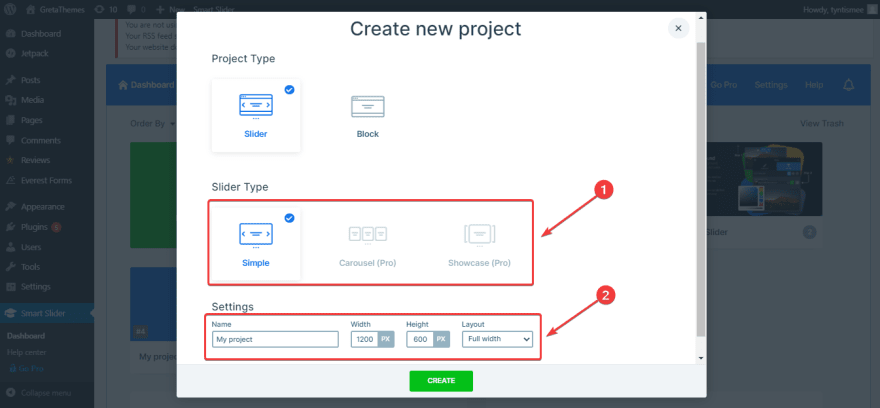Create a New Project with Smart Slider 3 plugin