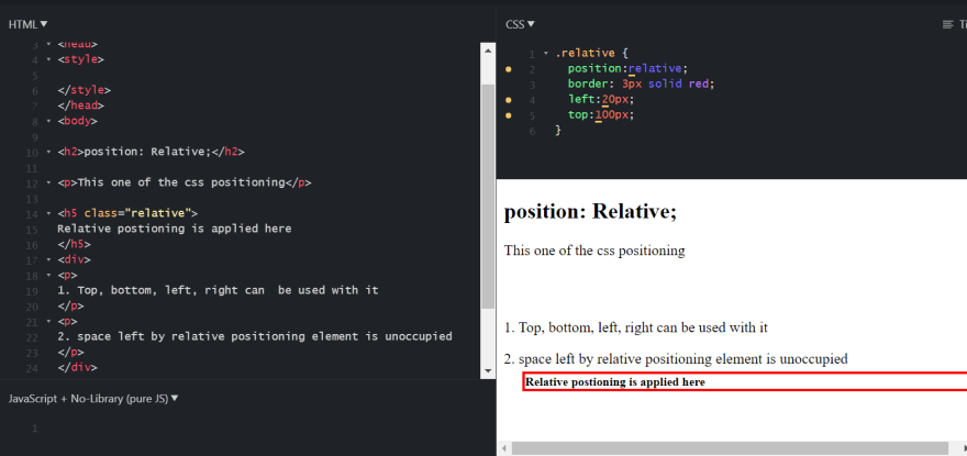 CSS relative property Demonstration