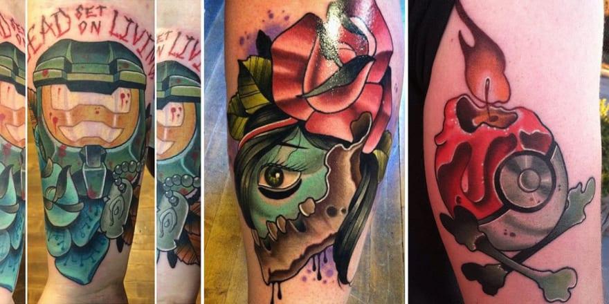 Three unique tattoos