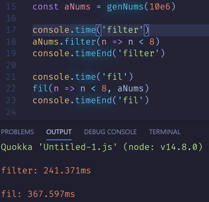 Screenshot of code showing filter 241ms and fil 367ms