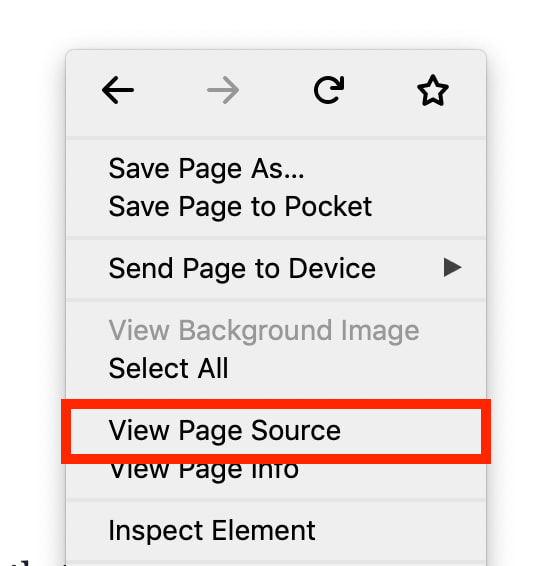 View Page Source on Firefox
