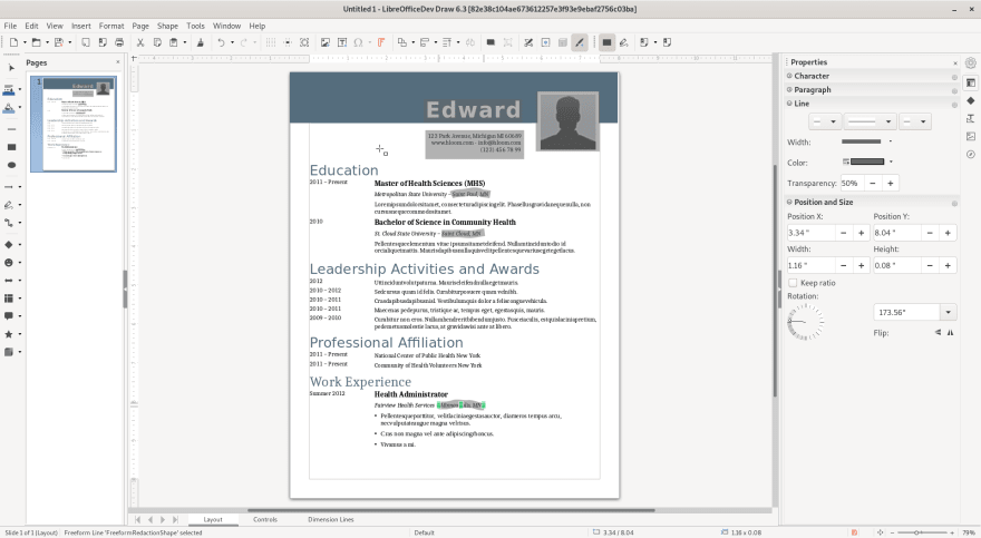 In-Redaction Screenshot from Libreoffice 6.3