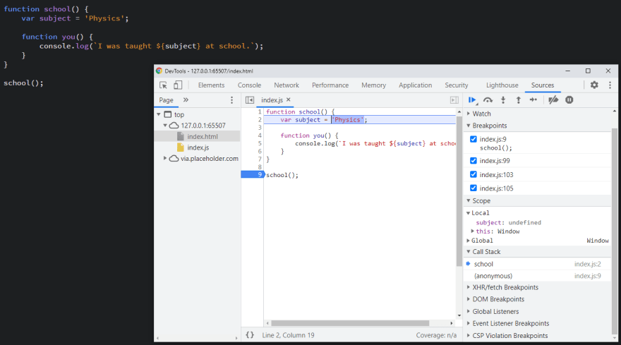 Chrome does not show the inner function in the Local scope