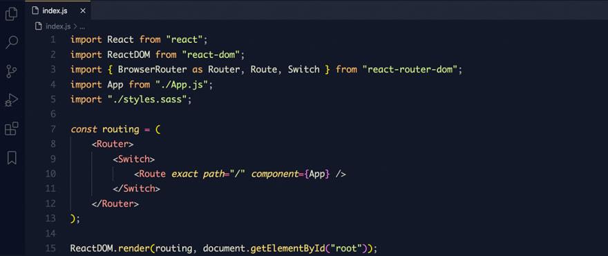 React code snippet with the Mayukai - Mirage theme