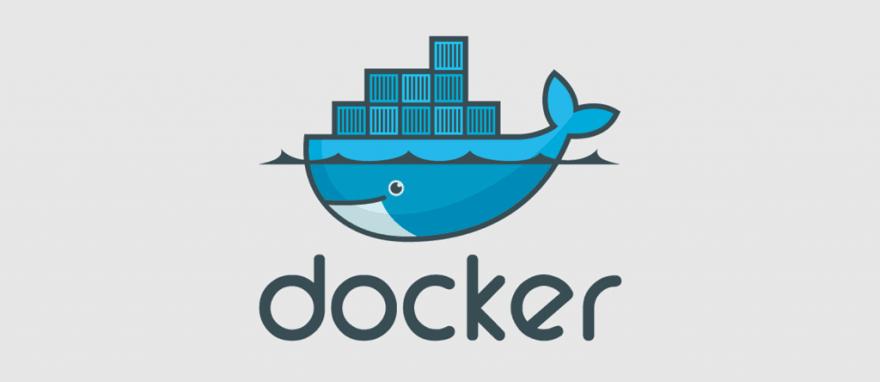 Docker logo blue on grey