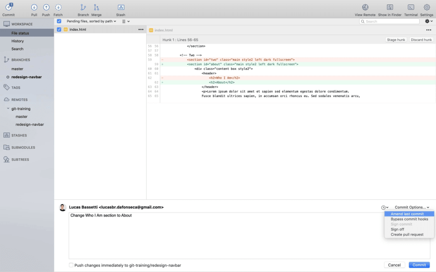 Sourcetree commit amend