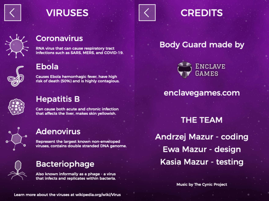 Enclave Games - Body Guard: viruses and credits