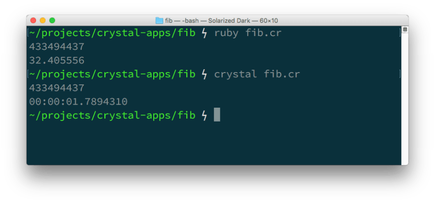 Running the program with Ruby produces the answer in 32 seconds, running with Crystal took 1.7 seconds