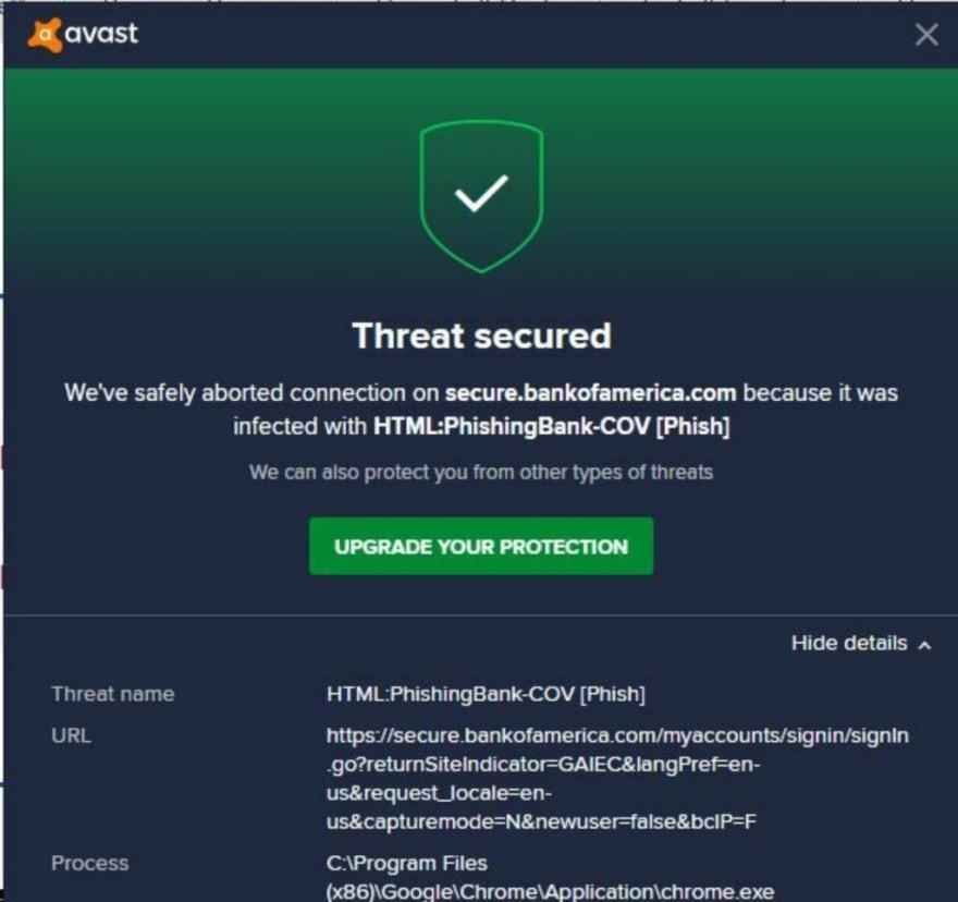 A malware alert left hundreds of Bank of America customers panicking