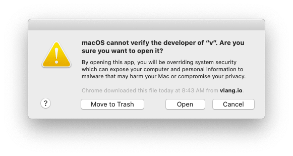 """macOS blocks the execution of the app yet again, but this time, there's an """"Open"""" button, which empowers the user to """"run"""" it"""
