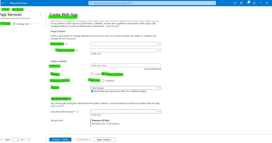 create multi container web application