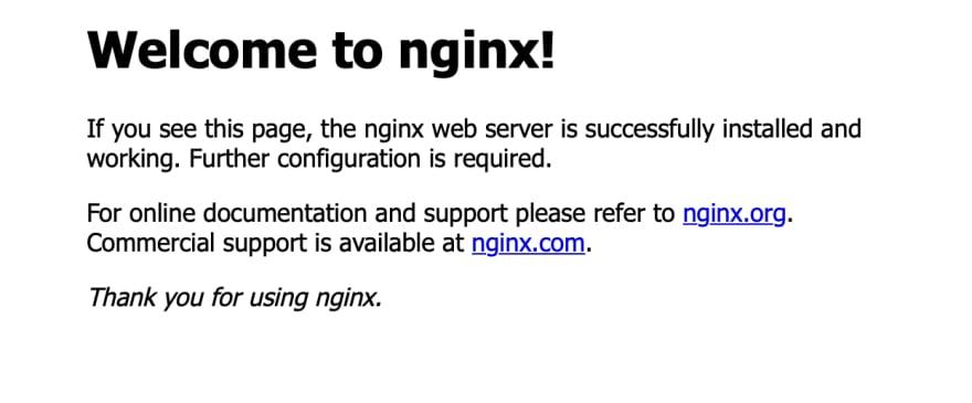 nginx starter page