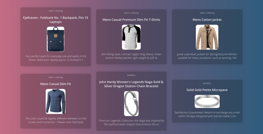 e-commerce example of a products grid or gallery