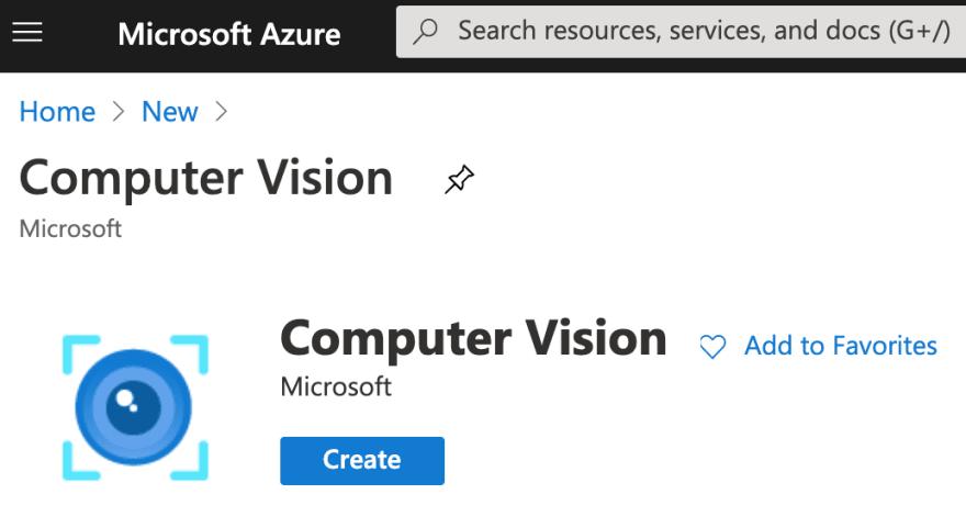Computer Vision Azure resource