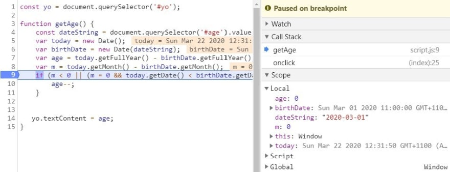Scope section in Chrome's debug pane