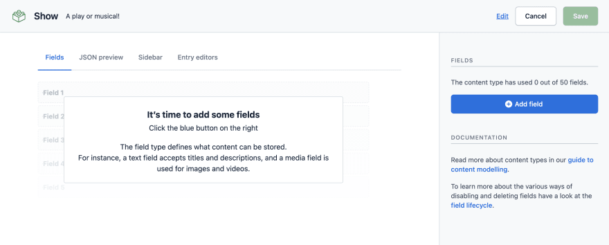 Add fields to a content type in contentful