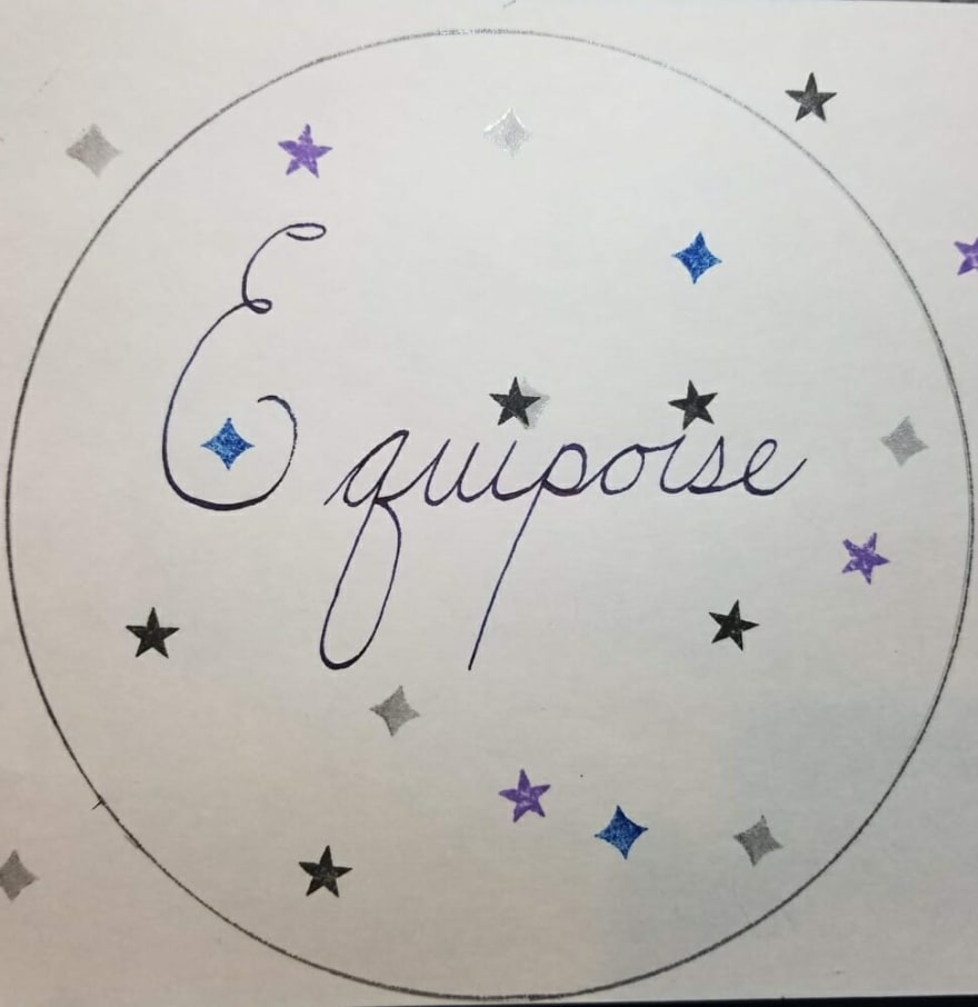 Equipoise, the word, in fancy cursive with a circle around it and also little star stamps