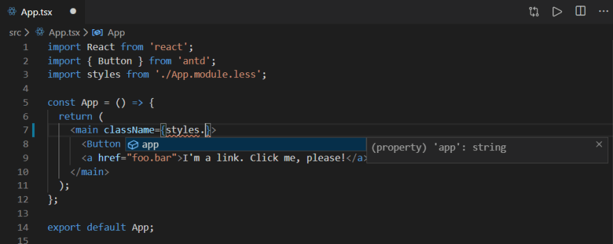 VS Code autocomplete for TypeScript CSS Modules.