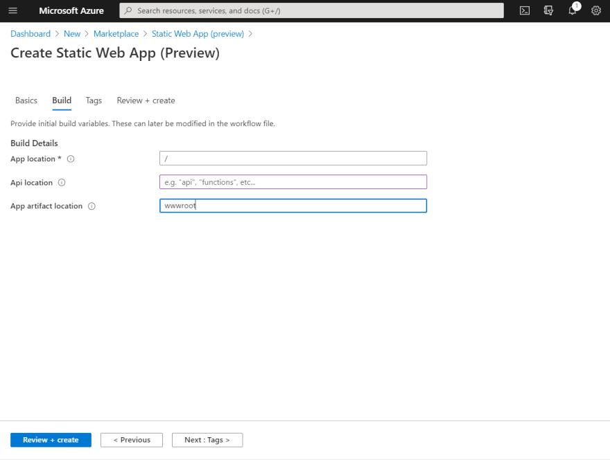 Screenshot of Azure Static Web App Build tab