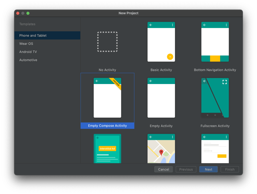 Jetpack Compose project template in Android Studio