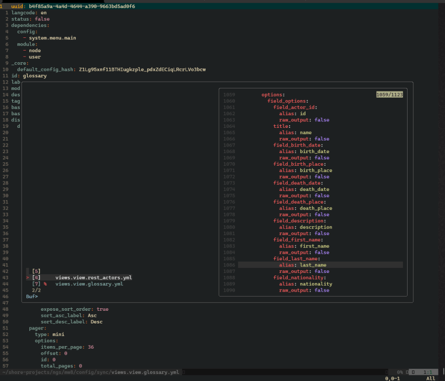 Vim session using fzf to display a list of open buffers