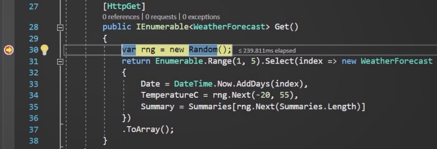 WeatherForecast breakpoint hit