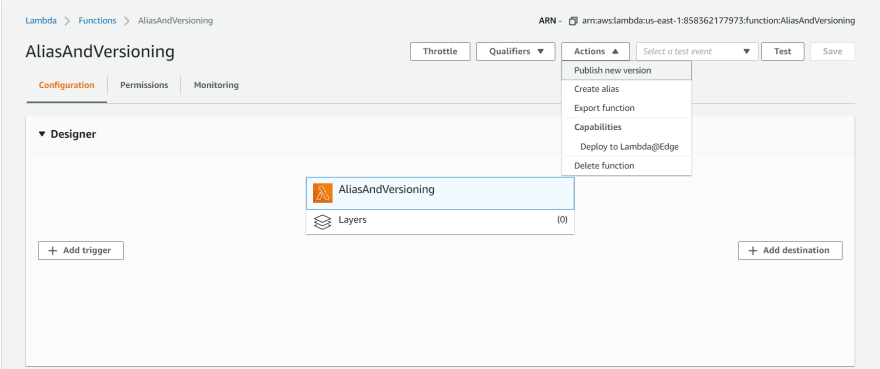 Publish a new version of the function