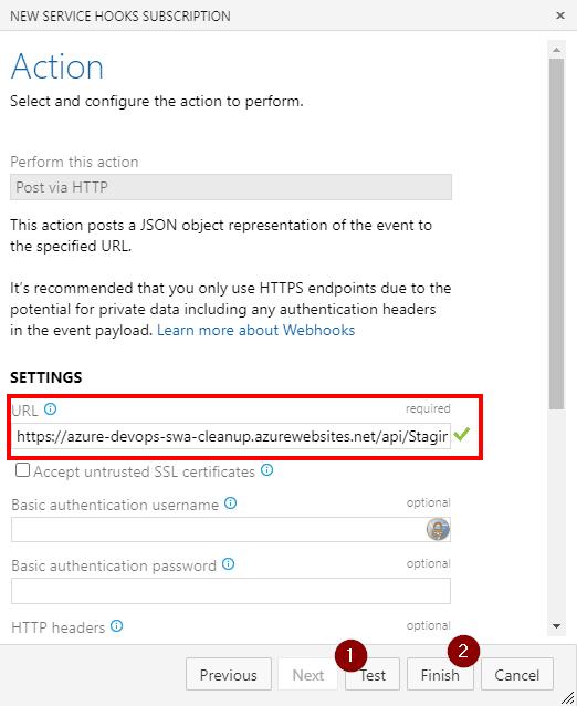 defining service hook function URL
