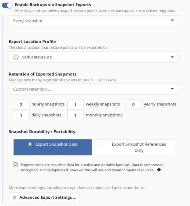 Kasten - new policy - Enable backups via Snapshot Exports