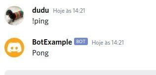 bot responde Ping com Pong