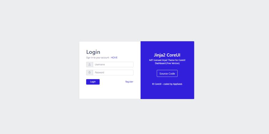 CoreUI - Jinja2 Theme, the LOGIN page.