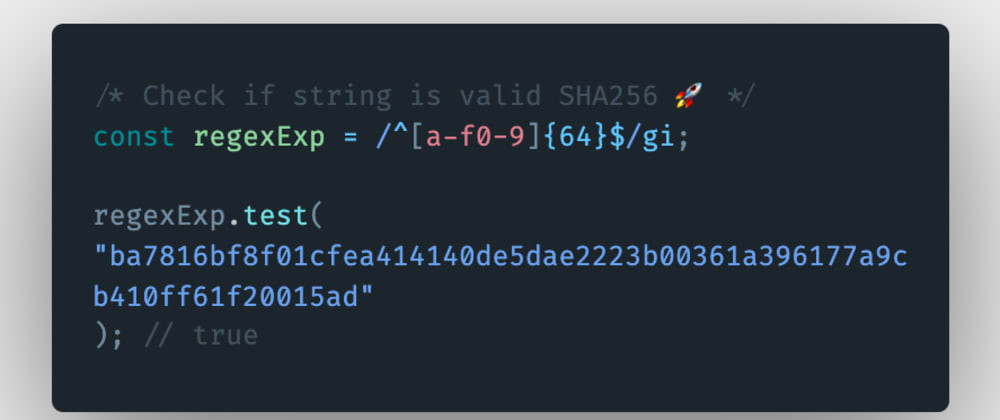 Cover image for How to check if a string is a valid SHA256 hash in JavaScript?