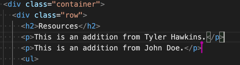 Multiple cursors can be seen in VS Code, one for each participant