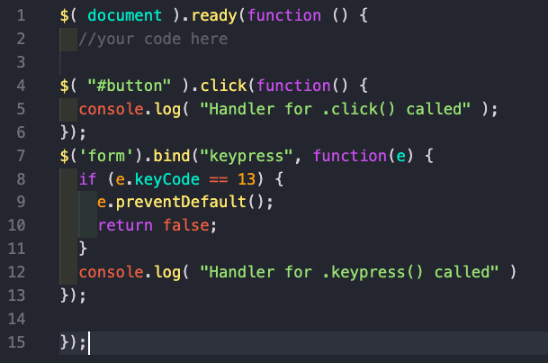 jQuery function for click and keypress events