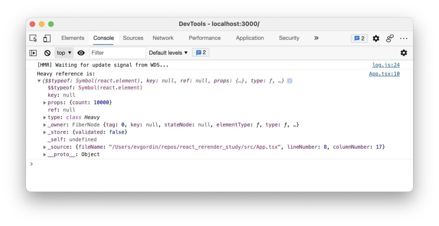 DevTools Console with logs