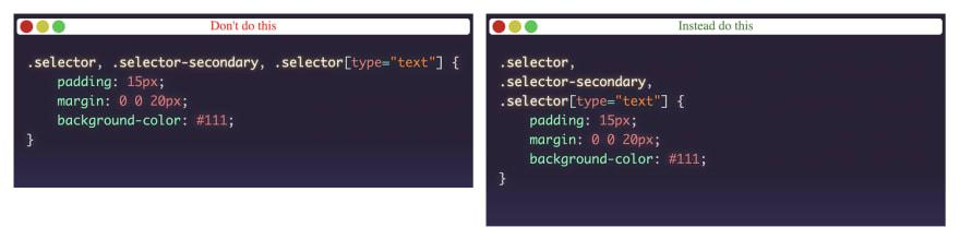 single-line-selectors