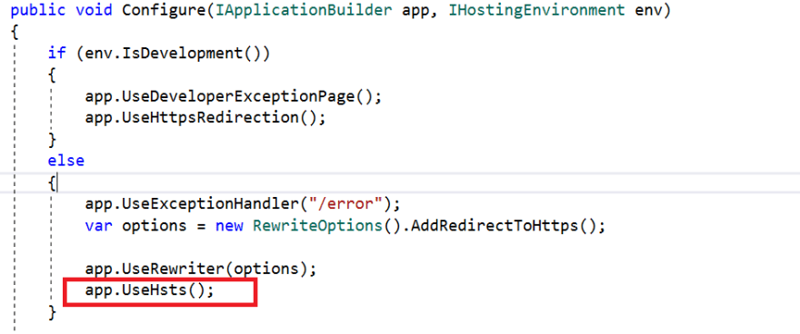 Setting HSTS Policy in Code.