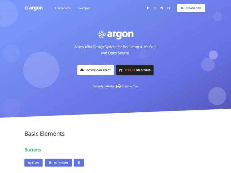 argon design system React free templates and themes with live demo