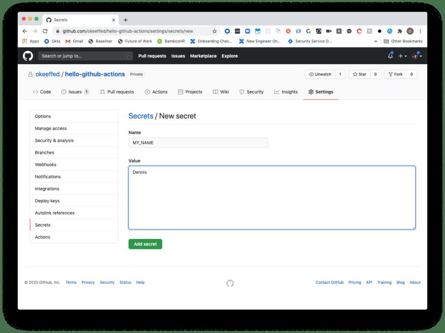 Hello GitHub Secrets